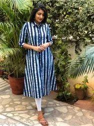 Ankle Length Printed Indigo Print Cotton Kurta, Size: XL