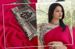 Party Wear Designer Satin Silk Saree, 6 m (with blouse piece)