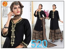 Rayon Regular Ladies Designer Black Embroidered Kurti, Wash Care: Machine wash