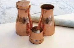 Hammered Round Copper Sugar Pot (Bed Side Jar), For Home, Capacity: 1 Ltr