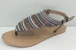 Women Embroidered Beaded Sandals