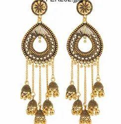 Gold, Silver Brass Earrings