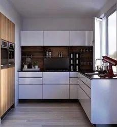 Solid Wood L Shape Modular Kitchen