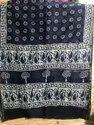 Party Wear Printed Chanderi Silk Indigo Saree, 6.3 M (with Blouse Piece)