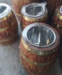 Grocery Display Wooden Cylindrical Drums