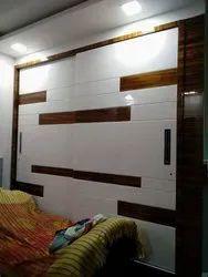 White Wooden Luxury Wardrobe, For Bedroom