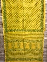 6.3 m (with blouse piece) Ladies Authentic Chanderi Hand Block Printed Saree