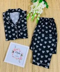 Cotton Girls Fancy Night Suit, Top and Pant