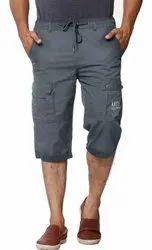 Black Polyester Capri Shorts
