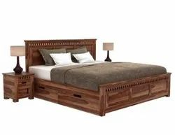 King Size Bed With Storage In Teak Wood