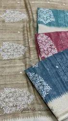 Handloom Cutwork Jute Silk Saree
