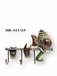 Metal Ganesh Flute Key Holder
