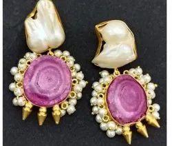 Brass Golden Solar Earrings