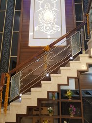 Polished Glass Stair Railing, For Home and Hotel