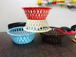 Round Multicolor Plastic Fruit Basket, For Home, Size: 8 Inch