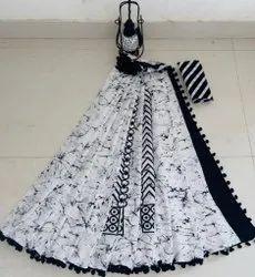 Block Prints Party Wear Cotton Pompom Sarees, With Blouse, 6.3 m