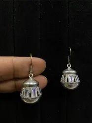 Brass Silver Stone Studded Earrings