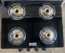 Four Burner Glass Top Gas Stove, For Kitchen