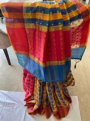 Sagar Haritage Block Prints Banarasi Cotton Saree, With Blouse, 6.3 m