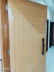 Laminated Veneer Flush Door With Grooves, With Polish