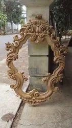 Teak Wood Polished Wooden Frame, Size: 2'x1.5' Mirror Size