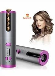 Pink Cordless Automatic Hair Curler, For Travel