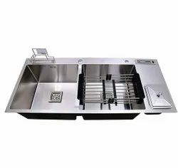 Double Bowl Kitchen Sink With Dustbin