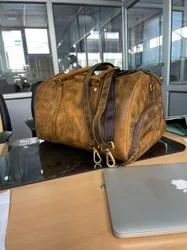 Vintage Brown Solid Buff Leather Duffle, For Travel
