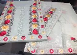 Ash Grey Ladies Embroidered Cotton Dress Material