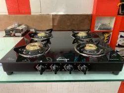Glass Sunflame Gas Stove 4 Burner, For Kitchen, Model Name/Number: Centa