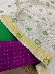 Soft Silk Cotton Printed Top With Cotton Silk Bottom And Handloom Moonga Cotton Printed Dupatta