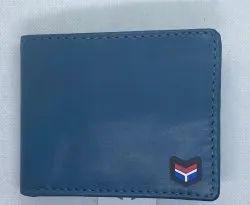 Blue Bi Fold Mens Leather Wallet, Card Slots: 5
