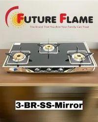 Lpg 3-Burner Brass Glass Top Gas Stove, For Kitchen, Model Name/Number: 3BMJHPS