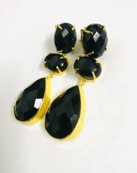 Brass Beautiful Black Dangle Earrings