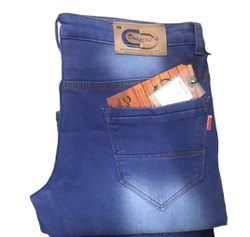 Men Blue Denim Jeans Knitted Cotton, Age Group: 20to50