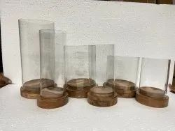 Wooden Glass Candle Holder