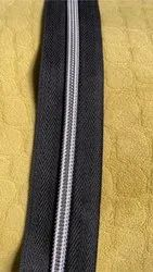 Black Roll form Polyester Zipper No.8 With Silver Coil