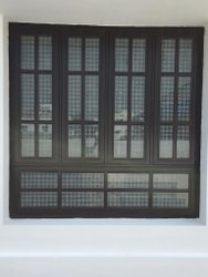 Steel Window With Wood Finish And Grill