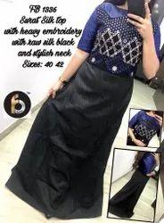 Party Wear Gown Black Silk One Piece Dress, Size: 38 40 42