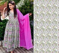 42inch Ladies Digital Print Cotton Kurti Fabric, GSM: 150