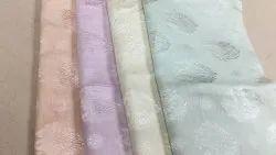 White Handloom Satin Linen Jacquard Fabric, For Garments