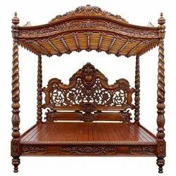Teak Wood Brown Luxury Bed, For Home