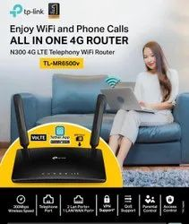 Black Wireless or Wi-Fi TP Link N300 4G Sim Router With Voice Port MR6500V