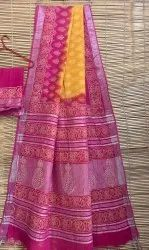 Traditional Linen Cotton Saree, 6.3 m (with blouse piece)