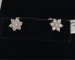 Real Diamonds Daily Wear Flower Shape Diamond Earring, 4.780g, 14 Kt
