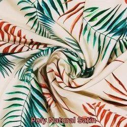 Poly Natural Satin Digital Printed Fabric