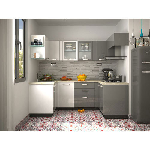 Aluminium Modular Kitchen At Rs 1100 Square Feet: Modern Acrylic Modular Kitchen, Rs 1100 /square Feet, Wood