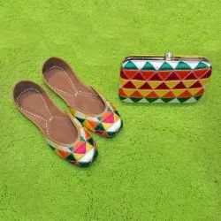 Yellow Punjabi Jutti With Matching Clutches