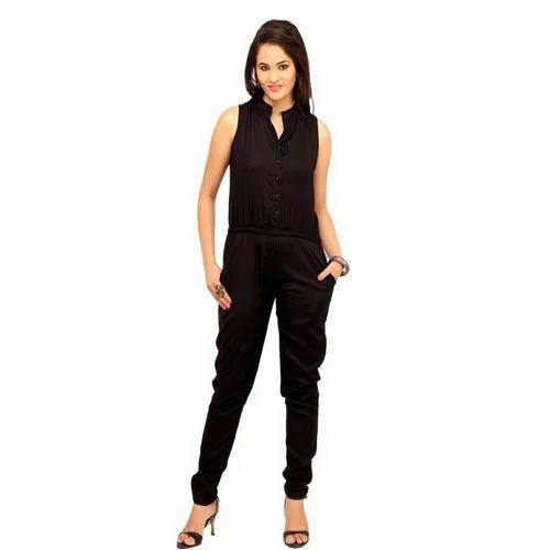 e5a28f6bf250 Women  s Cottinfab Viscose Rayon Black Jumpsuit