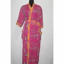 Silk Sari Long Kimono Bath Robe Maxi Gown Dress